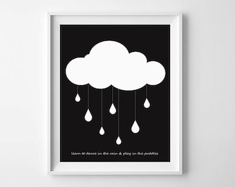 Baby wall art printable, Scandinavian, Cloud & Rain, monochrome, nursery decor, gender neutral, gift, black and white, nursery illustration