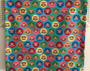 Decorative Pillow Case, Square Zippered Pillow Case, Monkeys, Bright Colored Fabric