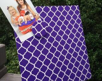 Clemson magnet board, Furman, Magnetic Board, Desktop Organizer, Magnet Board, Quatrefoil Purple Fabric, Magnetic Board, desk accessory