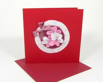 Handcrafted card, personalised card, floral card, blank card, all occasion card, red card with envelope, birthday card, keepsake card,