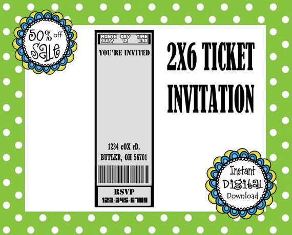 X Ticket Invitation Template Birthday Party Movie Ticket Template