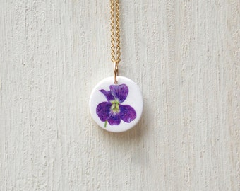 Violet necklace, violet pendant, purple necklace, wildflower necklace, flower necklace, floral necklace, dainty necklace, tiny necklace