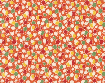 By the HALF YARD - Bread n' Butter by Sandy Klop for Moda, #21691-12 Tulips on Orange, Tossed Yellow, Red, Green and Ivory Flowers