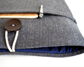 """Unisex Mens Kindle Sleeve, Paperwhite Case, Voyage Cover, Amazon Fire HD 6, 8, Fire 7"""" Tablet, Android, iPad Cover - Flannel Herringbone"""