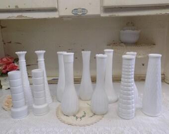 12 Vintage White or Milk Glass Taller Bud Vases Wedding or Party Set B1289