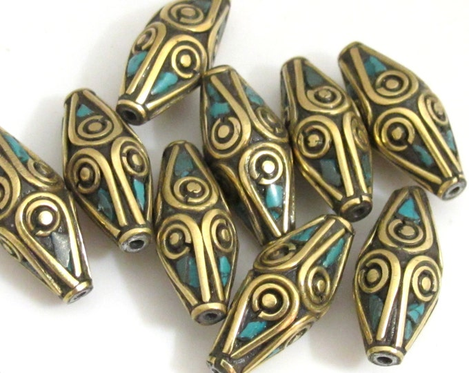 1 bead - Nepal Beads Bicone shape brass Beads with turquoise inlay - Tibetan beads supplies  - BD648