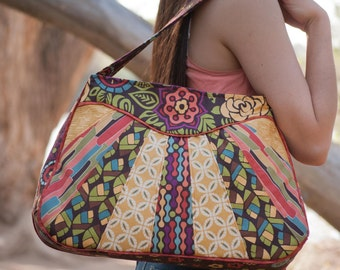 Sewing Pattern: Sunburst Sling PDF download, large bag with zipper closure and interior pockets by Jen Fox Studios