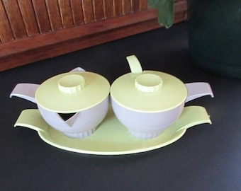 Apple Green and Gray Plastic Sugar and Creamer Set with Tray & Spoon by Federal Tool Corp - Retro Vintage Hostess Serving Set