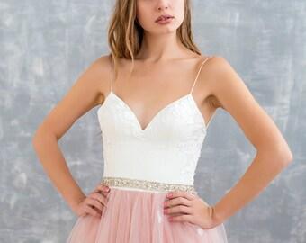 Blush wedding dress, floral wedding dress, boho wedding dress, bridal gown, bohemian wedding dress,