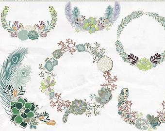 Saftiges Kranz ClipArt, saftig Blumenrand ClipArt, Blume-Cluster-digitales Design-Element, Hochzeit Grafik Monogramm Rahmen