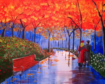 Original Painting. Acrylic on Canvas. Autumn Walk in the Park