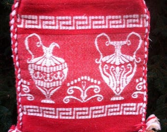 Bohemian Bag/ Red 70s Purse/ Vintage Bag