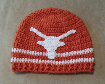 Longhorns Hat - UT Hat - University of Texas Hat - UT Beanie - Burnt Orange and White Crochet Hat - Collegiate Hat - Free Shipping