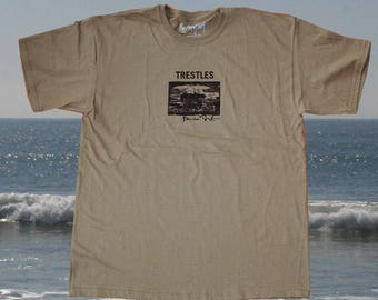 "KHAKI ""Trestles""  on SMALL  surfer surf t-shirt Short Sleeve"