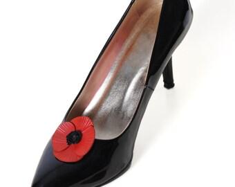 leather poppy flower shoe clips full grain cowhide