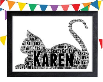Cat Lover Gift Personalized Gift Cat Gift Cat Lover Gifts Wall Art Wall Prints Wall Art Wall Decor Personalised Gift Wall Art Prints