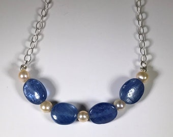 Blue Stone and Pearl Sterling Necklace