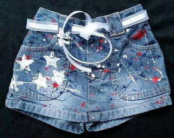 4th of July- Girls- Boys- Patriotic Shorts- Jeans- Skirts- American Flag- Distressed Denim- Infant- Baby- Toddler- Kids- Splatter Painted