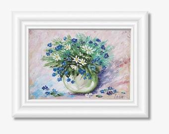Original painting flower painting blue flowers cornflower painting oil Art Gift-for-women Anniversary gift