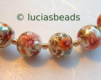 5 Beautiful Japanese Tensha Beads Garden Lily on Pearl 12 MM