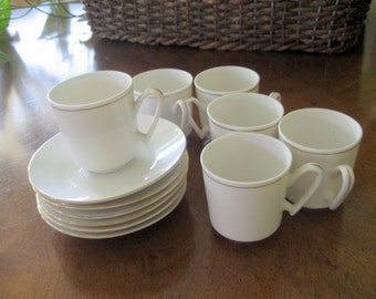 Vintage Set of 6 Demitasse Cups and Saucers  Circa 1950s