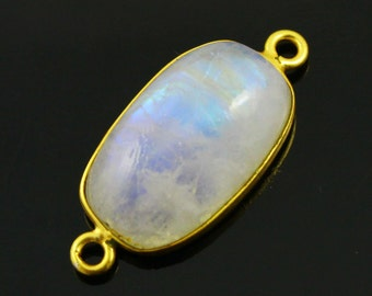 Rainbow moonstone connector, Rainbow moonstone, Rainbow Moonstone Bezel, Bezel Connector-Bezel Stone Connector-Gemstone pendant,(RNMC536)