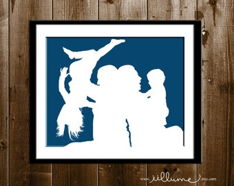 Family Silhouette Portrait, Custom Gifts for Her, Mother's Day Gift, Silhouette Portrait from your Photo, Family Silhouette Art Print