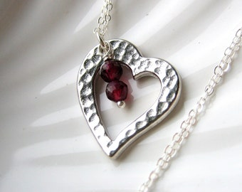 Silver Hammered Heart Necklace - Round Garnet - Valentine's Day