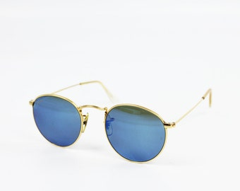 Vintage 80s 90s Ray-Ban Arista Sunglasses Gold Metal Frames Blue Mirrored Lenses 1980s 1990s W2277