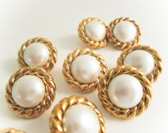 Vintage Gold Rope Pearl Buttons, Plastic Buttons, Vintage Buttons,Shank backing, Button jewelry, sewing buttons, fashion