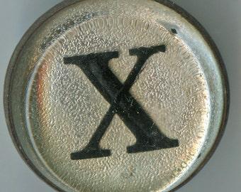 Antique HORSE Letter X Bridle Button Rosette Vintage Reverse Painted Glass 2275