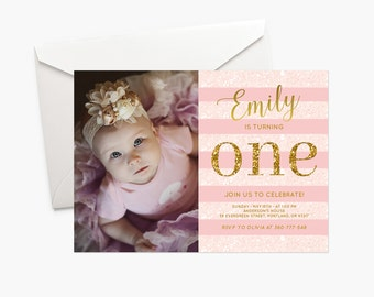 Pink And Gold Birthday Invitation Baby Girl First Birthday Party Invite Photo Invitation Rose Gold Glitter One Invitation Printable Digital