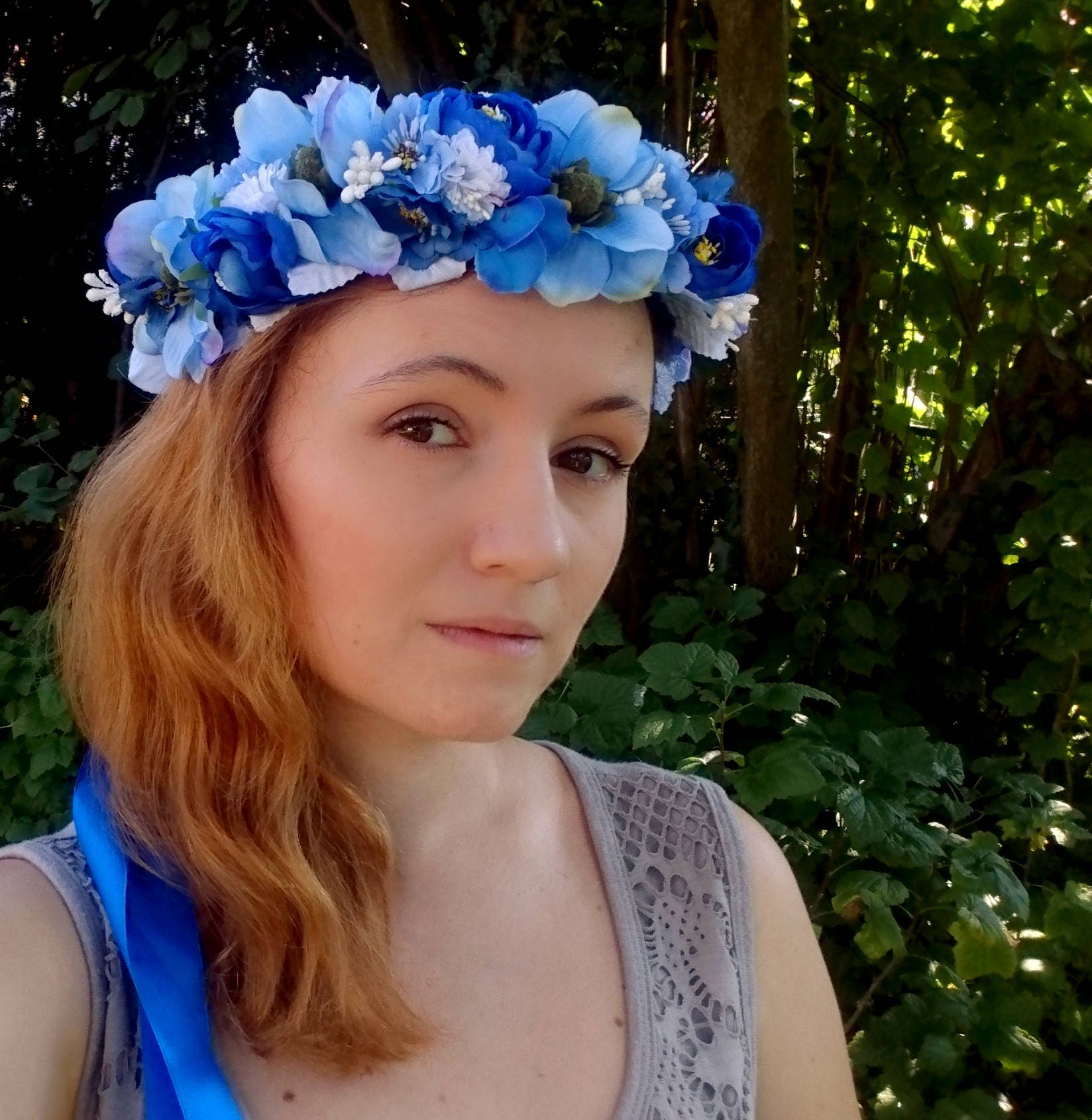Blue flower crown wreath artificial flowers wedding royal blue gallery photo gallery photo gallery photo gallery photo izmirmasajfo Image collections