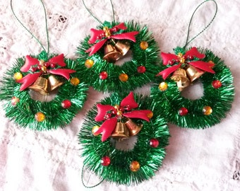 Mini tinsel wreath christmas ornaments gift package ties vintage style christmas crafts supplies retro christmas crafting