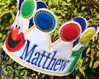 Boys Birthday Crown, Sesame Street birthday, Elmo Shirt, Elmo Crown, Elmo Party Hat