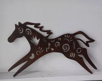 Tribal Horse Metal Wall Art