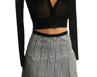 Black & White Houndstooth Print Pleated Skirt