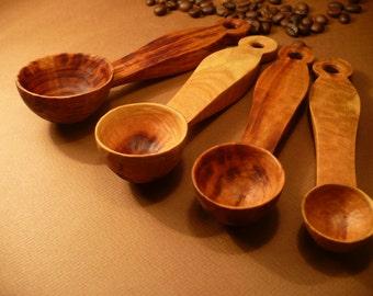 Chef's measuring scoop set in plum wood, wooden measuring spoons, measuring scoops, fruit wood spoon set, kitchen scoops