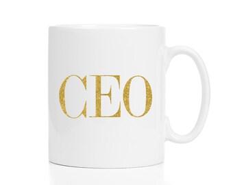 CEO Mug / Boss Gift / Entrepreneur Gift / Glitter Mug /  11 or 15 oz Mug