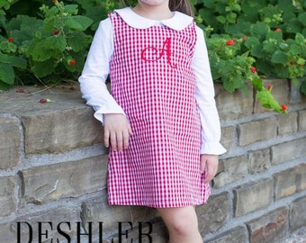 Monogram Jumper, Monogrammed Jumper, Girls Jumper, Holiday Jumper, Holiday dress, gingham jumper, corduroy jumper, monogram gingham jumper