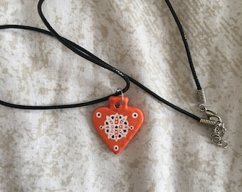 Orange patterned necklace