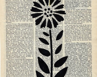 Vintage Dictionary Page With Handpainted Black Silhouette Flower - Dictionary Art - Encyclopedia Art