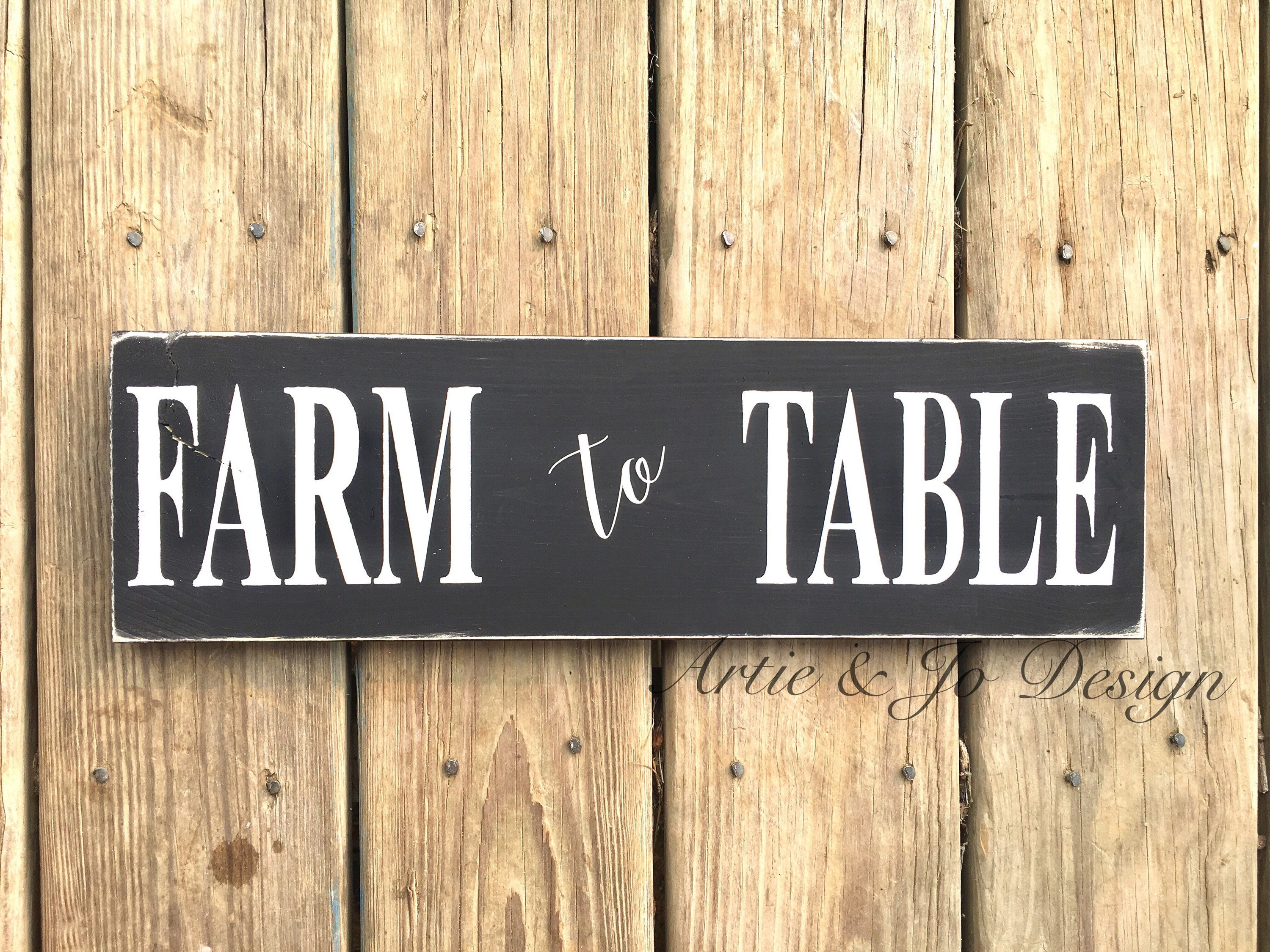 Farm to Table Wood Sign Rustic Farmhouse Decor Kitchen Dining