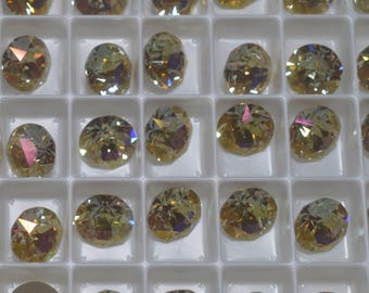 6 pieces 1088 Lemon 8mm (39ss) Swarovski Crystal Chatons with After Market Custom Coating