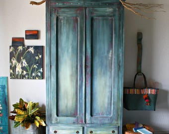 Morrocan Boho Inspired Vintage Armoire