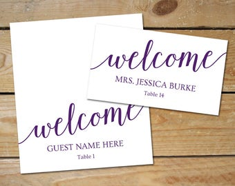 Purple Place Cards Wedding Template // Purple Wedding Name Cards // DIY Printable Place Cards