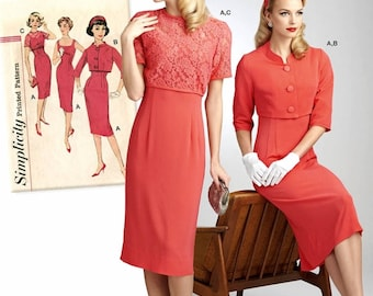 Vintage Dress Pattern, Sheath Dress Pattern, 1950's Dress Pattern, Simplicity Sewing Pattern 8460
