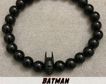 Batman Bracelets | Yoga Beaded Mala ॐ DARK KNIGHT: Black Onyx | Energy Healing Karma Love | OOAK Luxury Fanboy Fangirl Jewelry | Mens Womens
