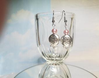 Pink Lotus Blossom Meditation Earrings