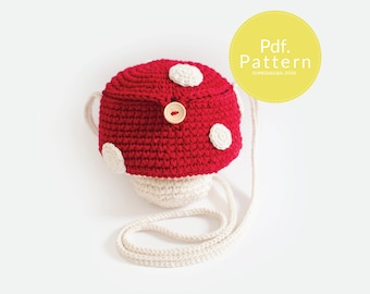PDF. PATTERN - Mushroom mini bag ,  Bag pattern, Crochet pattern.